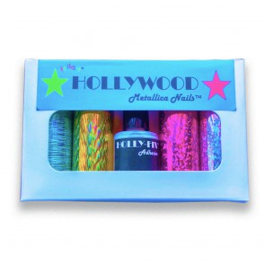Get that Metallic Hologram Nail Finish! Foilart's Hollywood Nail Kit will transform your nails in a fun way!